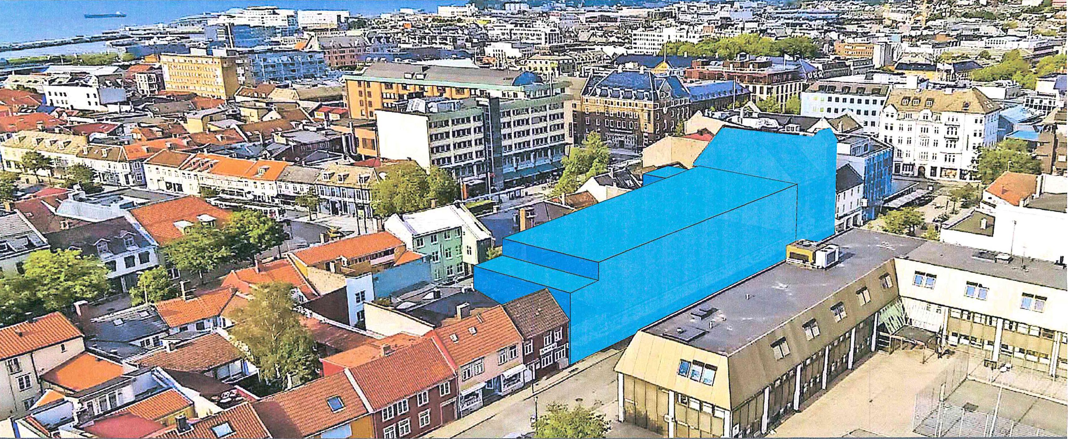 Ønsker bedre utnytting. Det blå feltet viser tillatt byggevolum mot Repslagerveita. På stedet ligger det i dag blant annet en RIMI-butikk, men snart flytter COOP inn. (Illustrasjon: Basale)