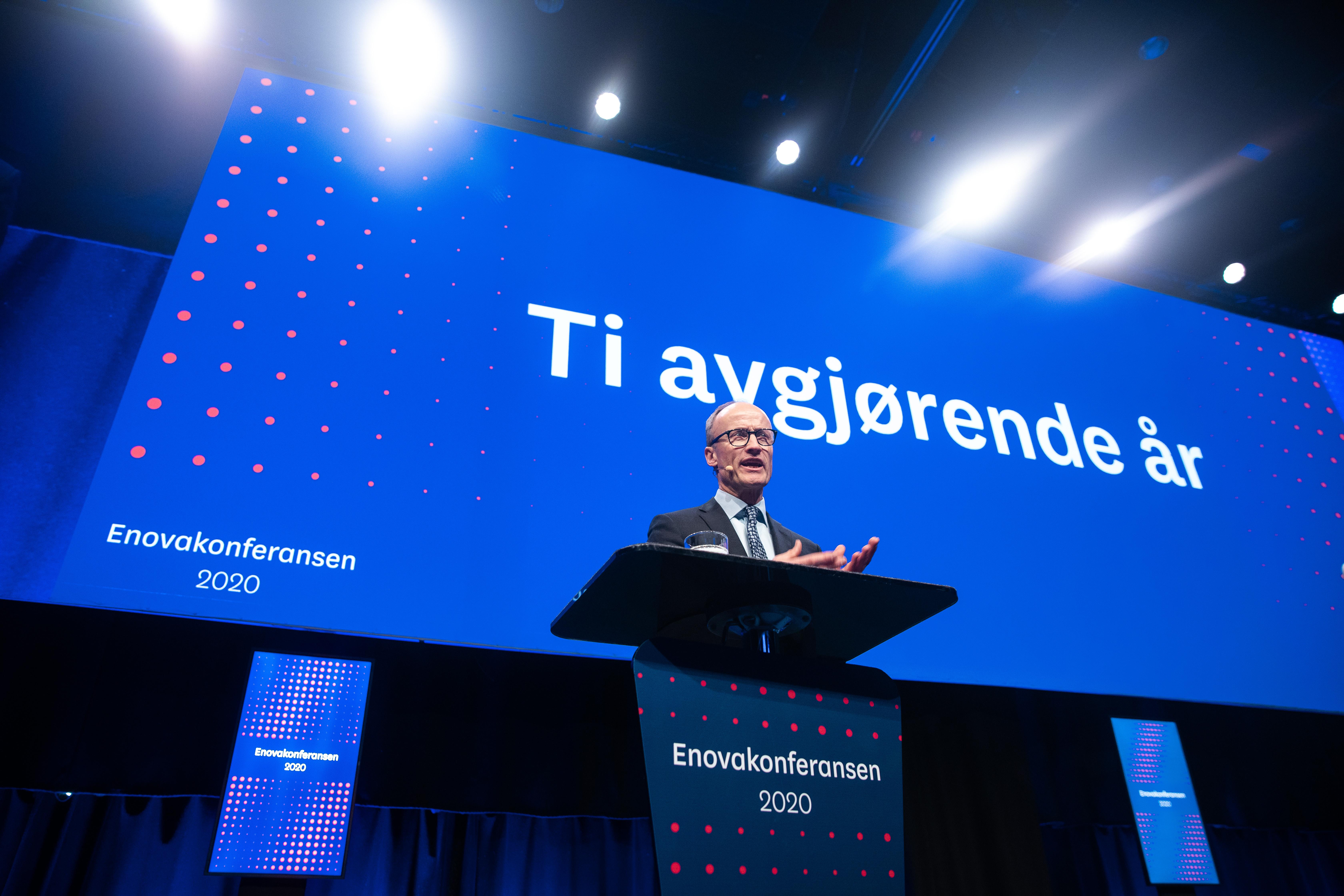 Enova-direktør Nils Kristian Nakstad åpner Enovakonferansen tirsdag 28. januar 2020. Foto: Kilian Munch / Enova